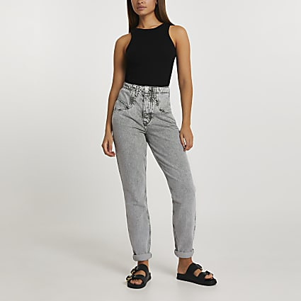Grey mom high rise grey jeans