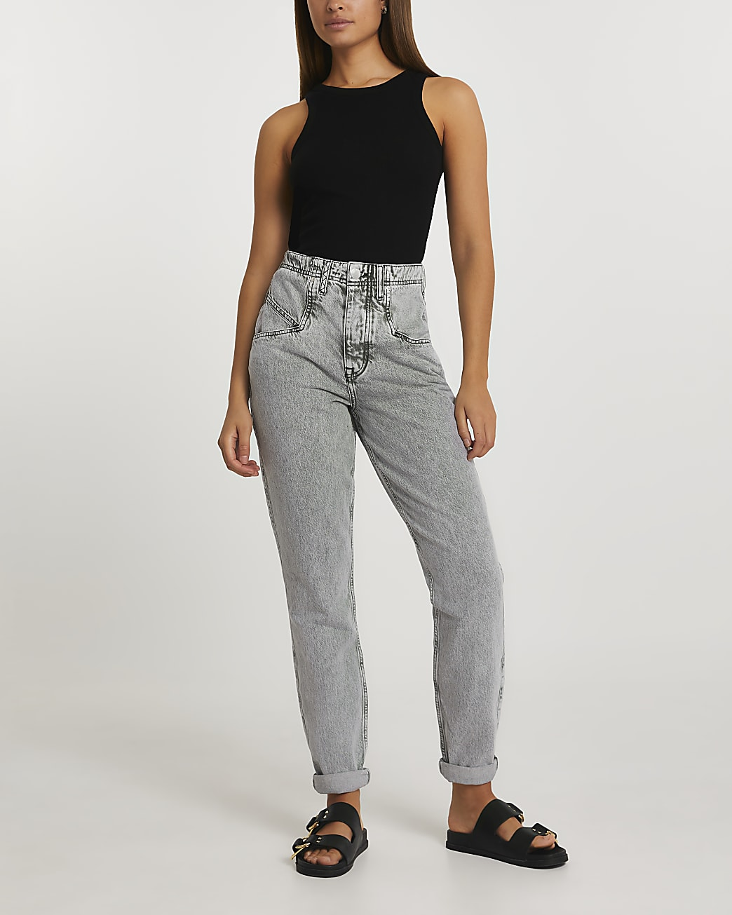 Grey mom high waisted grey jeans