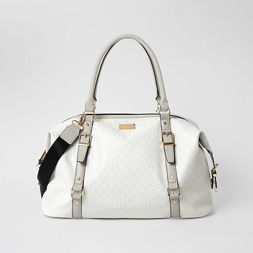 Grey monogram buckle bag