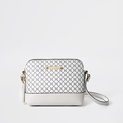 Grey monogram cross body bag