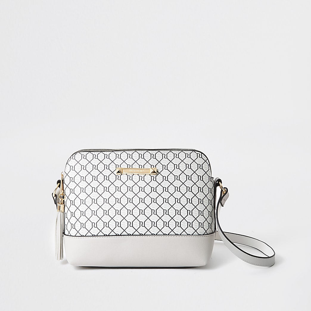 Grey monogram cross body handbag