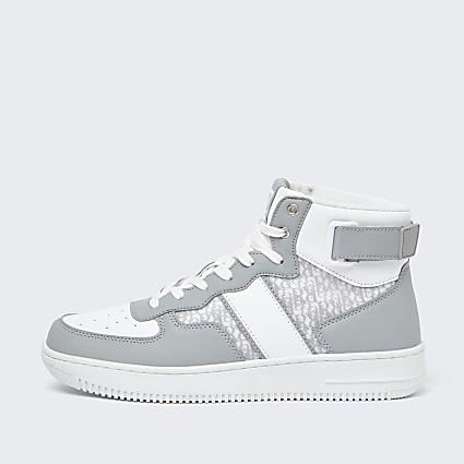Grey monogram high top trainers
