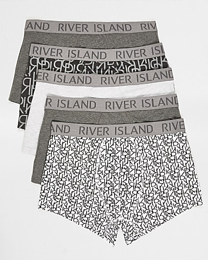Grey monogram print hipster 5 pack
