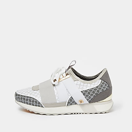 Grey monogram print pull on runner trainers