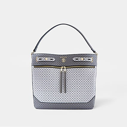 Grey monogram zip front slouch bag