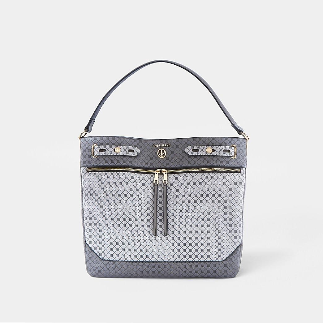 Grey monogram zip front slouch bag