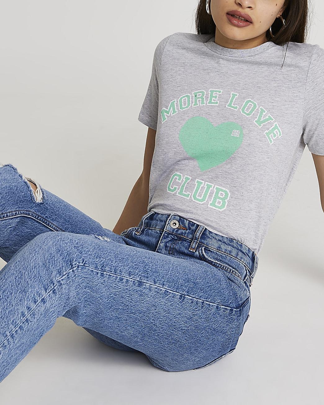 Grey 'More Love Club' heart t-shirt