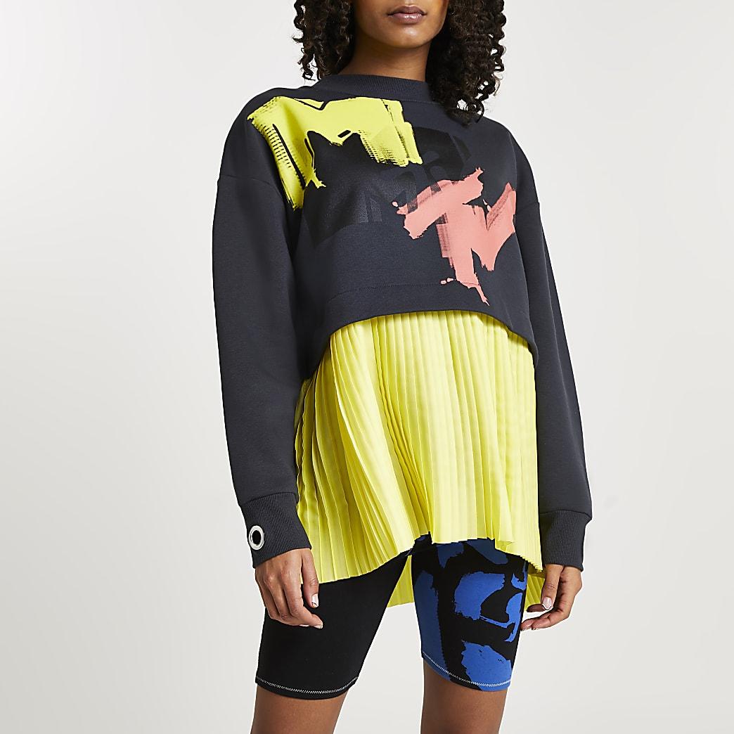 Grey MTV pleated sweatshirt