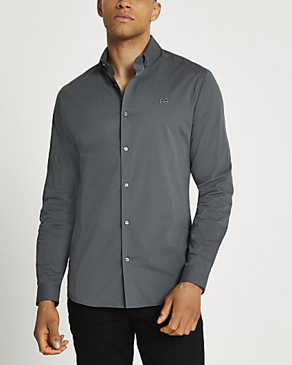 Grey muscle fit long sleeve shirt