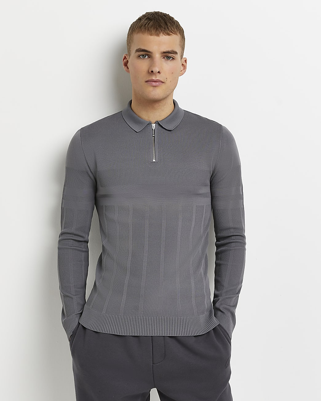 Grey muscle fit ribbed long sleeve polo shirt
