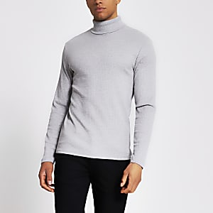 Grey muscle fit ribbed roll neck t-shirt