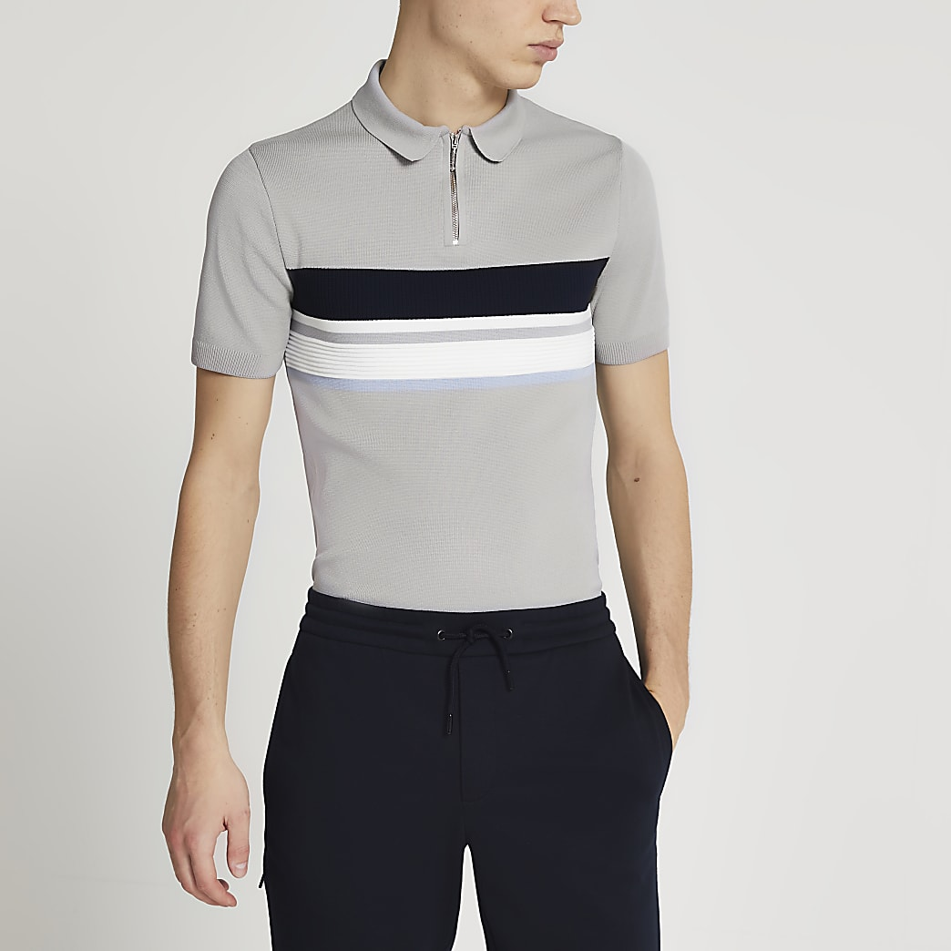 Grey muscle fit short sleeve polo shirt