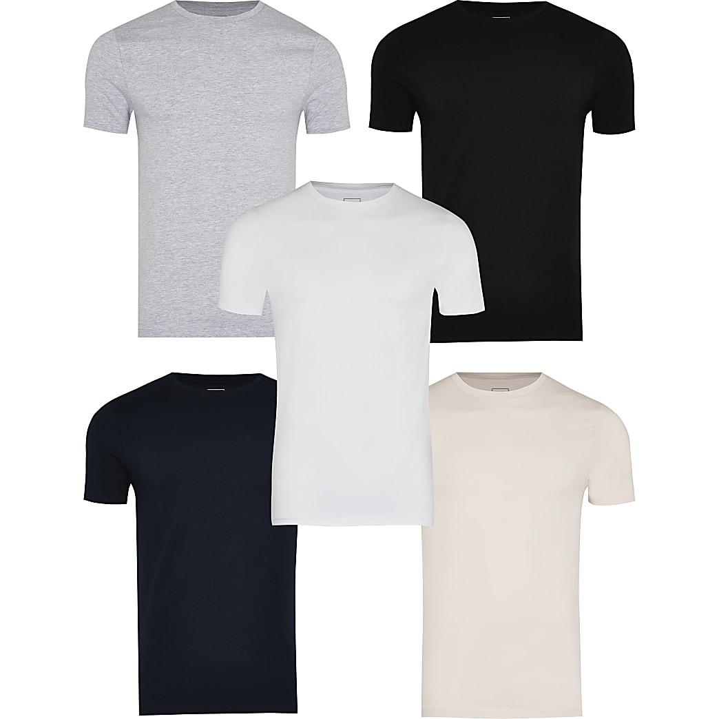 Grey muscle fit t-shirts 5 pack