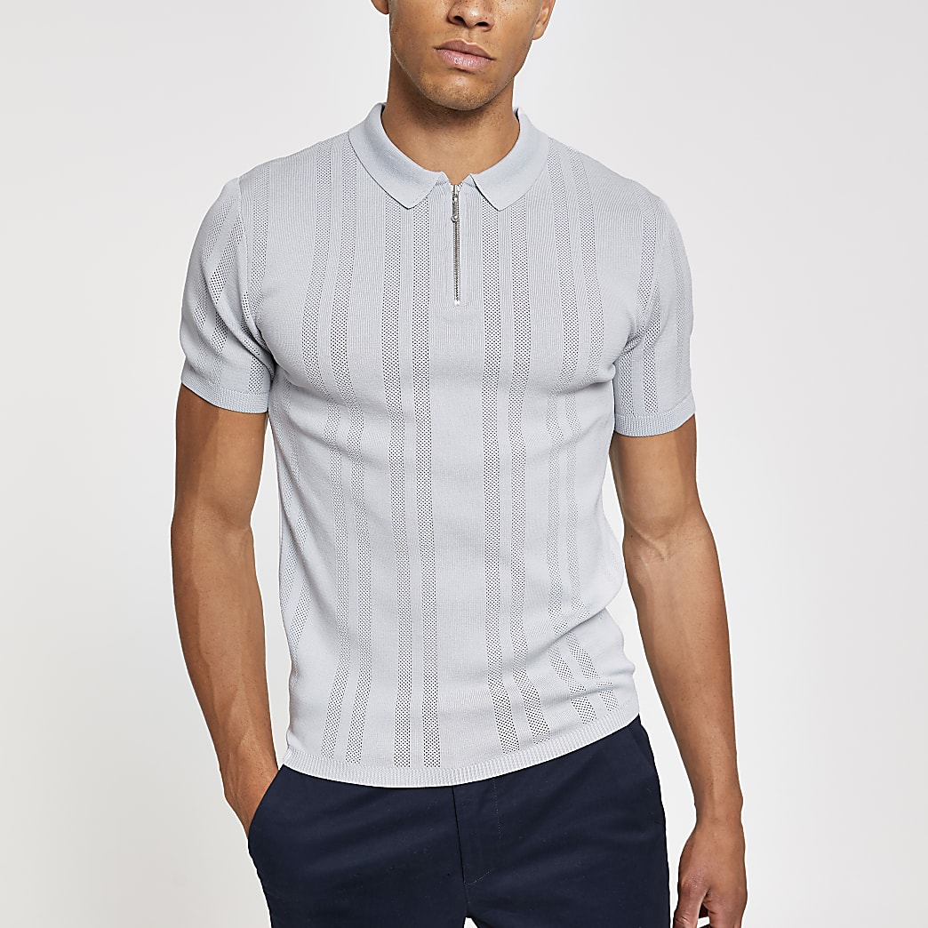 Grey muscle fit textured half zip polo shirt