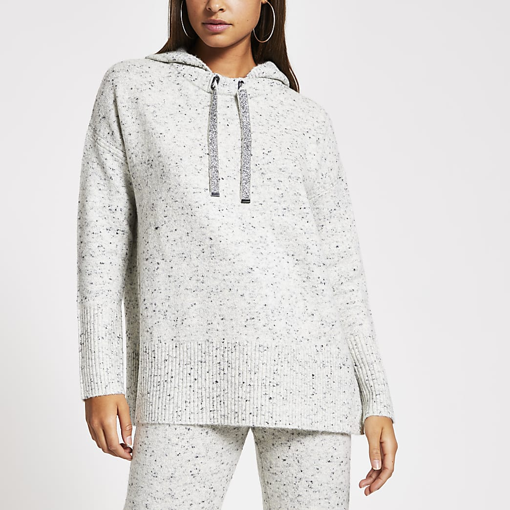 Grey neppy long sleeve knitted hoodie