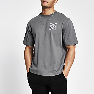 T-shirt droit imprimé « New world » gris