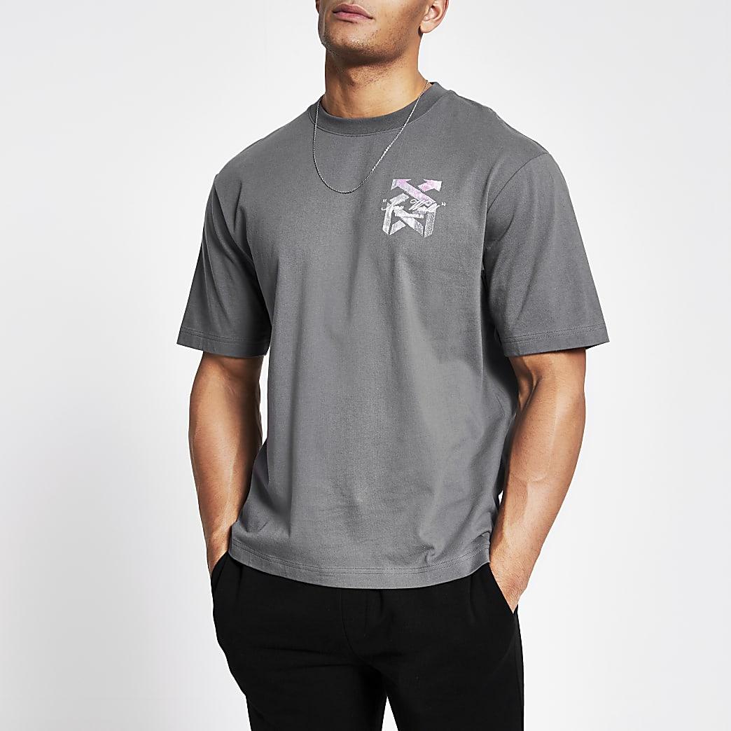 Grijs boxy-fit T-shirt met 'New world'-print