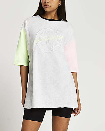 Grey NYC embroidered neon oversized t-shirt