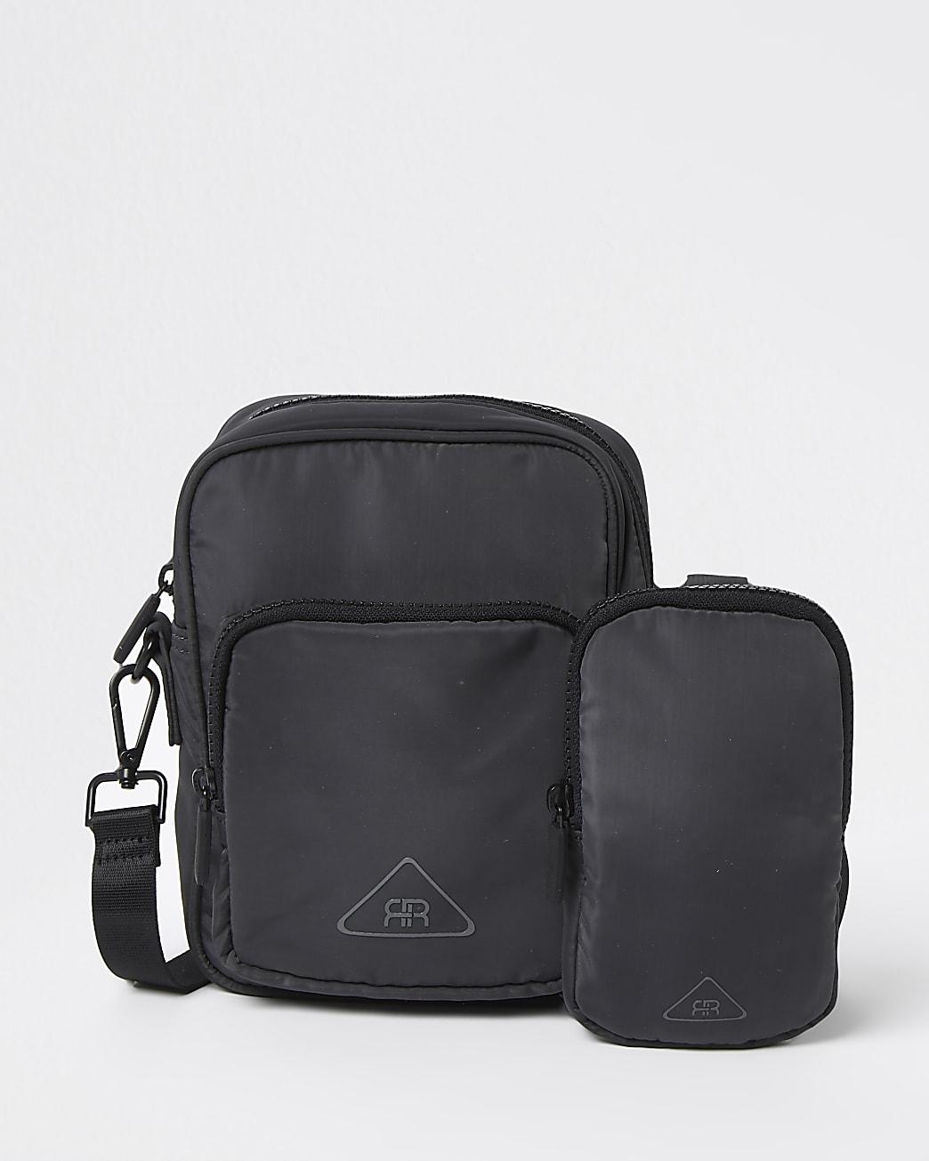 Grey nylon cross body & pouch