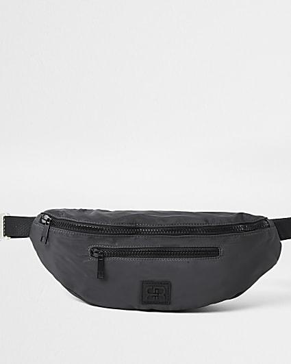 Grey nylon double zip bum bag