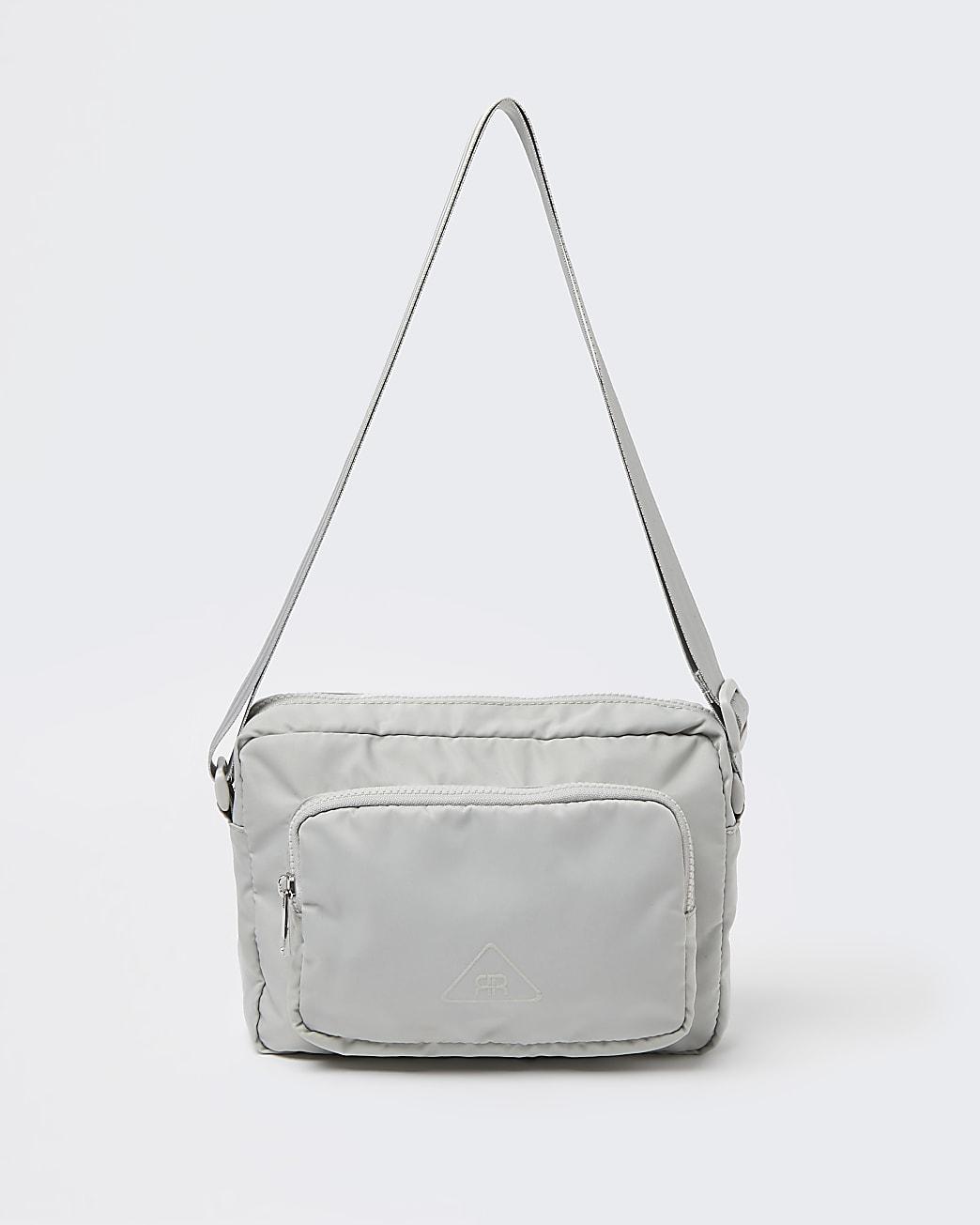 Grey nylon front pocket cross body bag