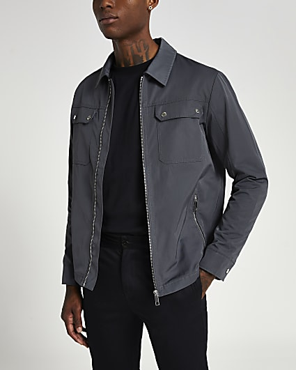 Grey nylon pocket detail zip up shacket