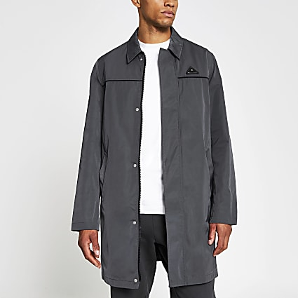 Grey nylon zip mac
