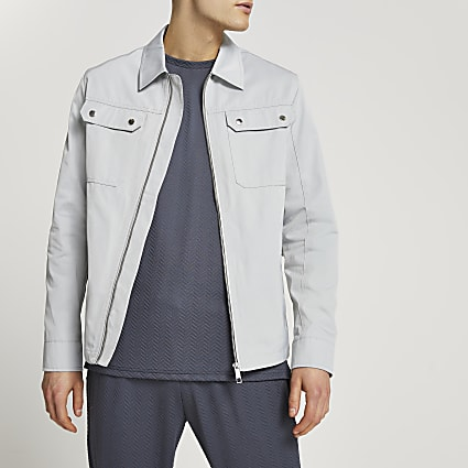 Grey nylon zip up shacket