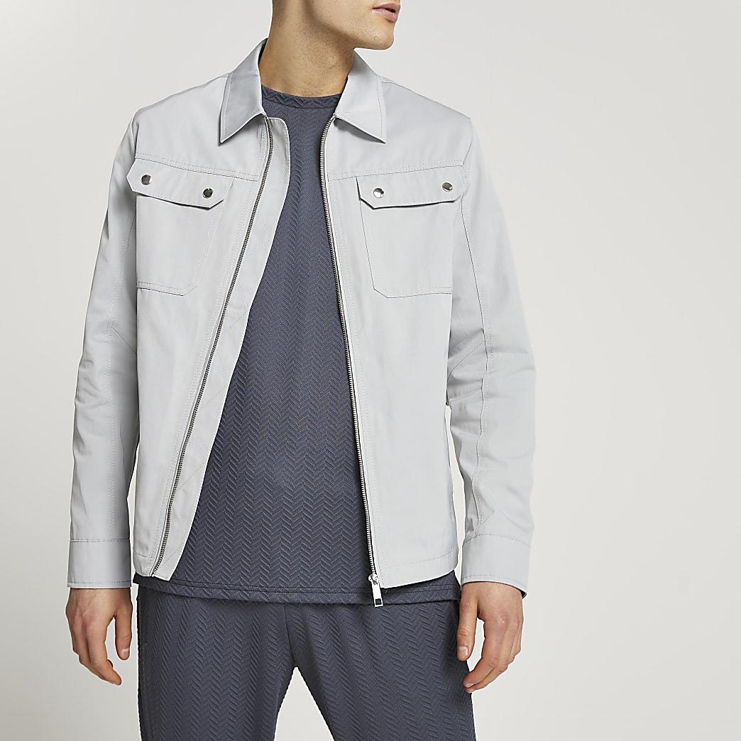 Grey nylon zip up shacket