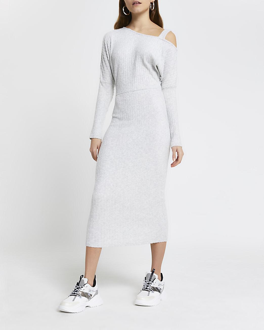Grey off shoulder midi dress