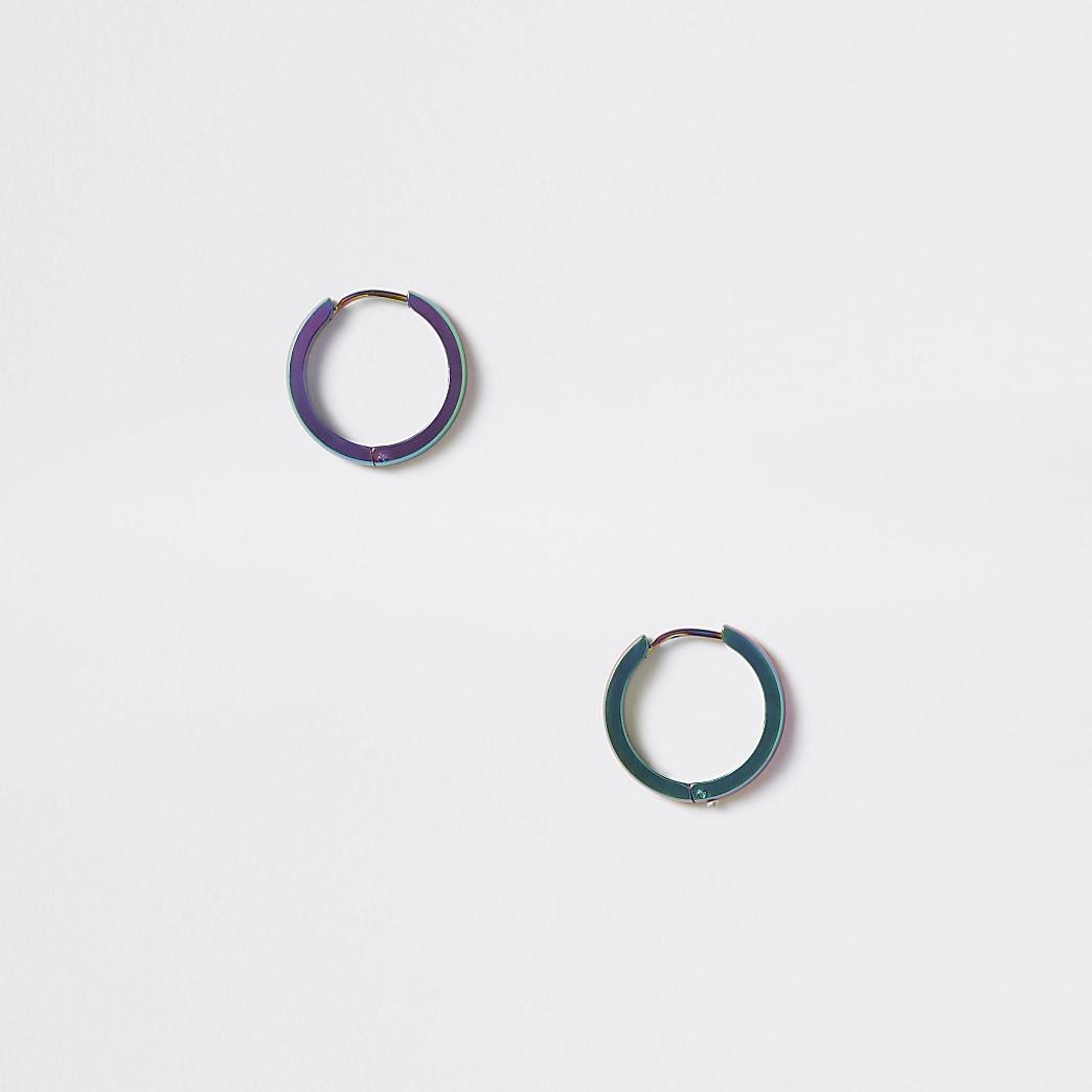 Grey oil slick hoop earrings