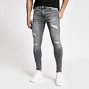 Ollie – Graue Spray On Skinny Jeans im Used-Look