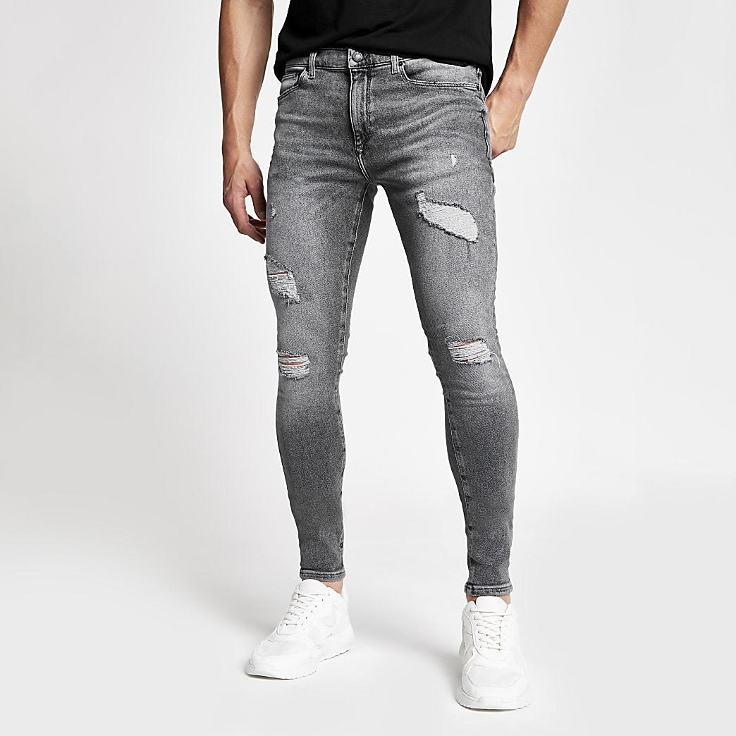 Ollie - Grijze spray-on skinny ripped jeans