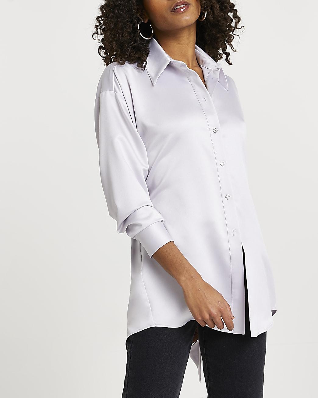 Grey open back long sleeve shirt
