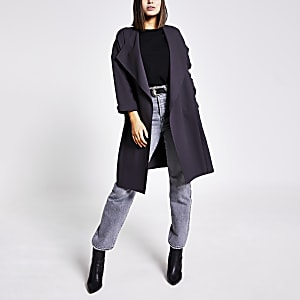 Grey open front duster jacket