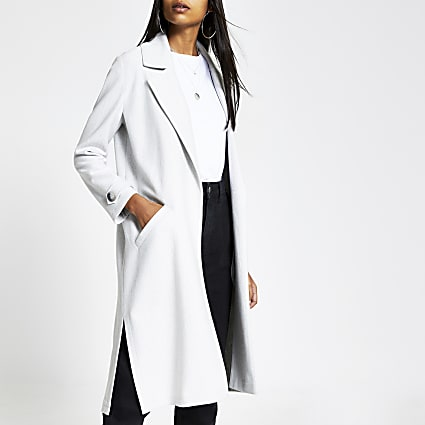 Grey open front jersey duster jacket