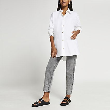 Grey overbump maternity mom jeans