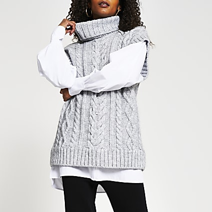 Grey oversized cable knit tunic top
