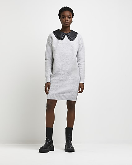 Grey oversized collar knitted dress