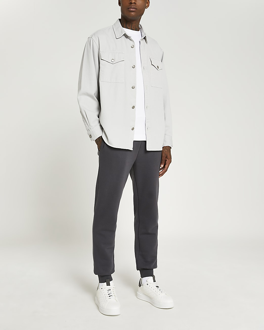 Grey oversized fit twill shirt