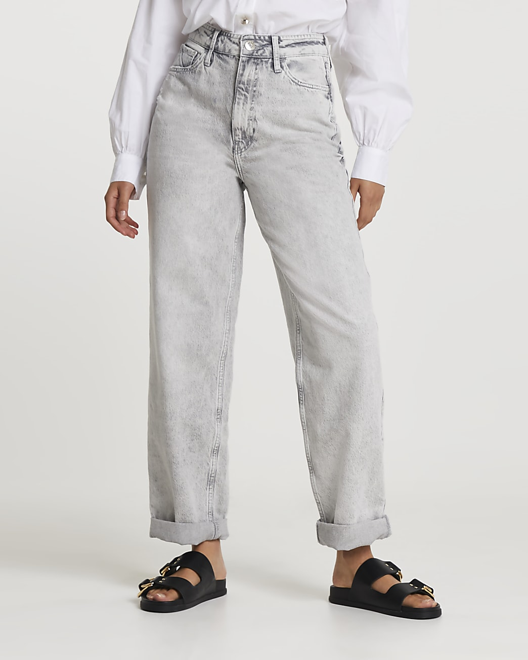 Grey oversized high waisted mom jeans