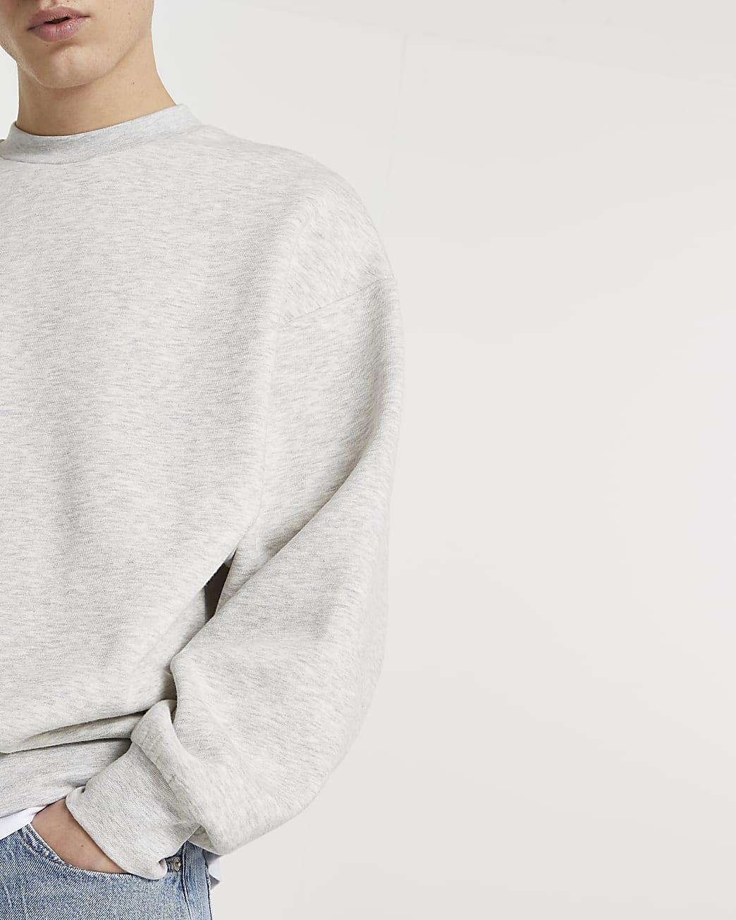 Grey oversized long sleeve sweatshirt