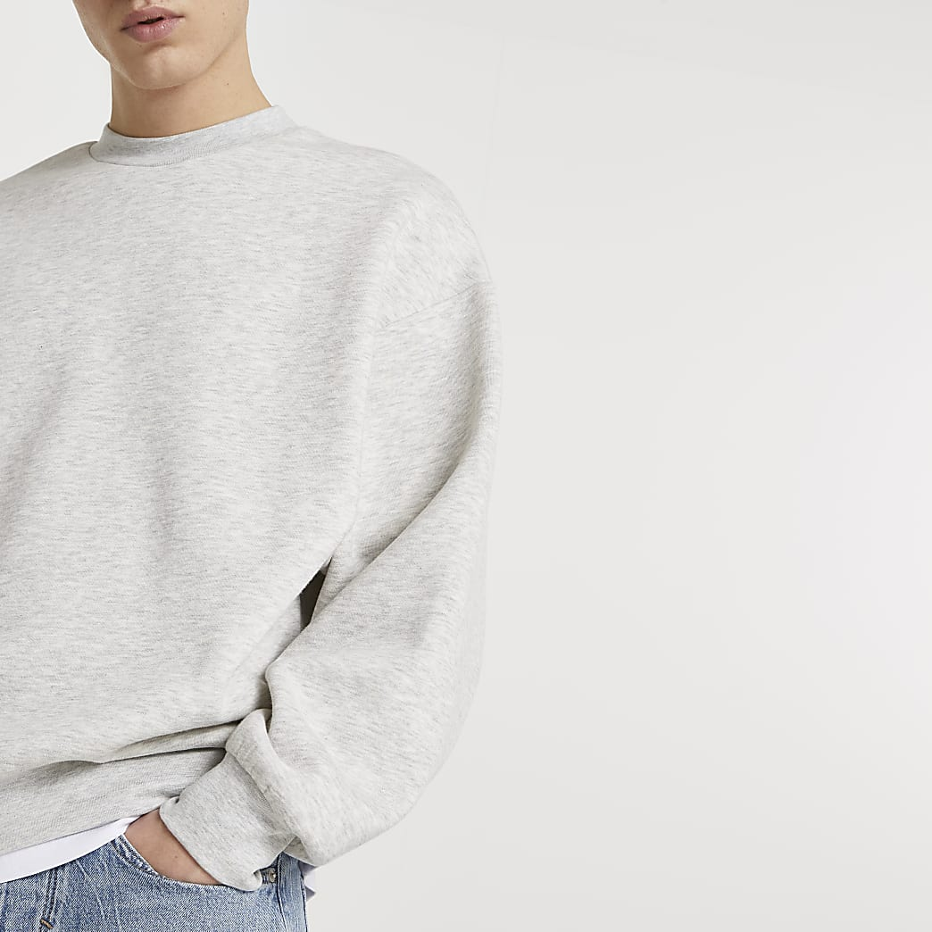 Grey oversized long sleeve sweatshirt