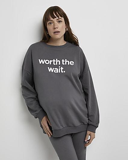 Grey oversized maternity sweatshirt