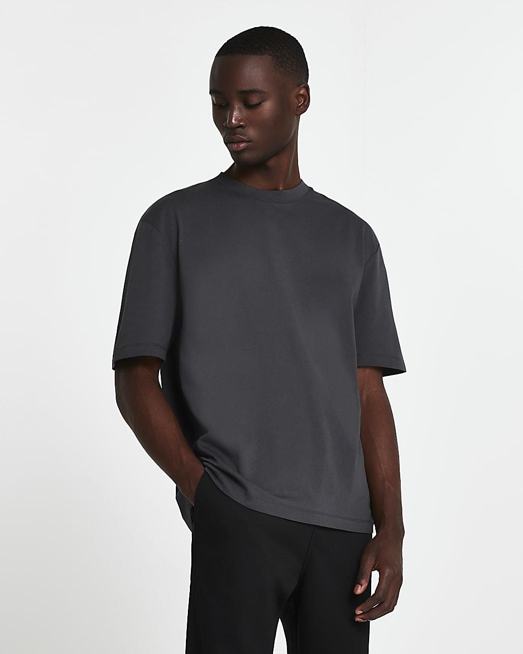 Grey oversized short sleeve t-shirt