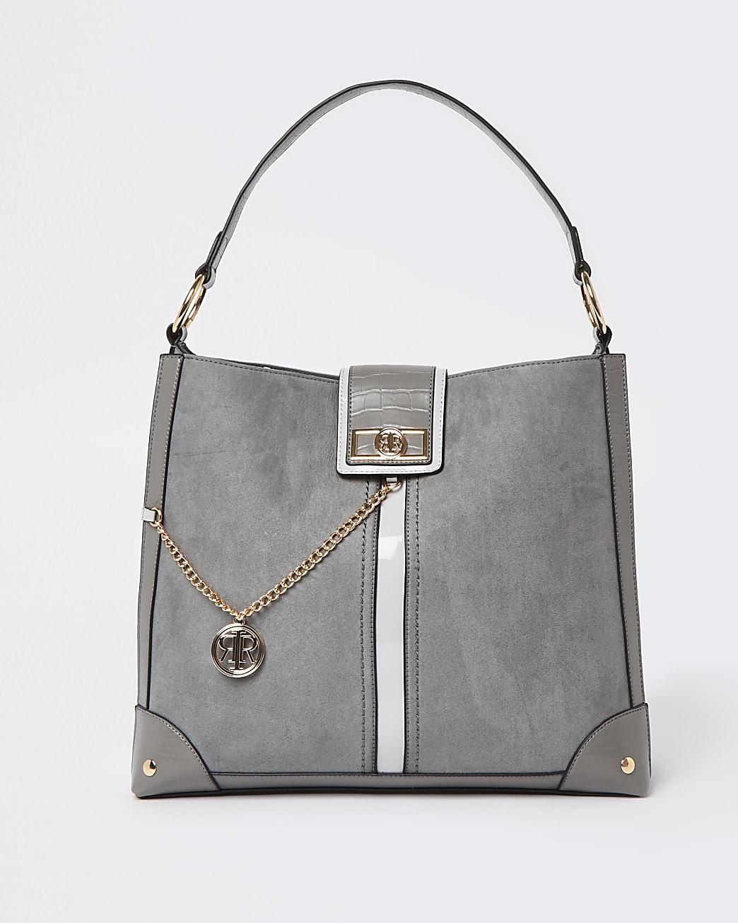 Grey oversized slouch bag