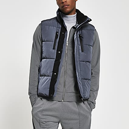 Grey padded double pocket puffer gilet