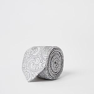 Graue Krawatte mit Paisley-Print