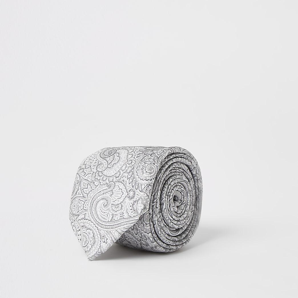 Grijze stropdas met paisleyprint