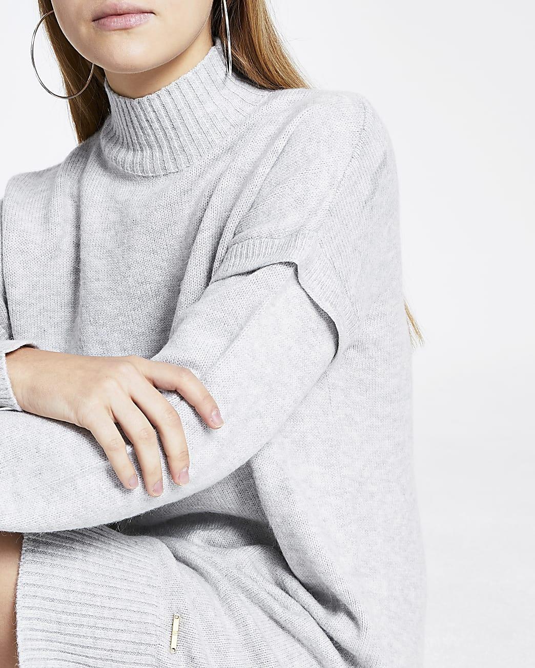 Grey panel jumper dress